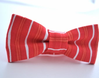 SALE Children's Bowtie Coral Stripe, Boys Coral Bow Tie