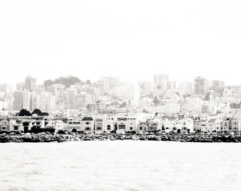 "San Francisco Art, Black and White Photography, Bay Photo, San Francisco Skyline, Vintage Print, San Francisco Architecture - ""Bay View"""