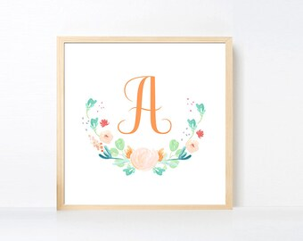 Letter A Art Printable, Peach Aqua Green Flower Wall Art, Monogram Nursery Girl, Watercolor Flowers Nursery Art Girl Initial Artwork