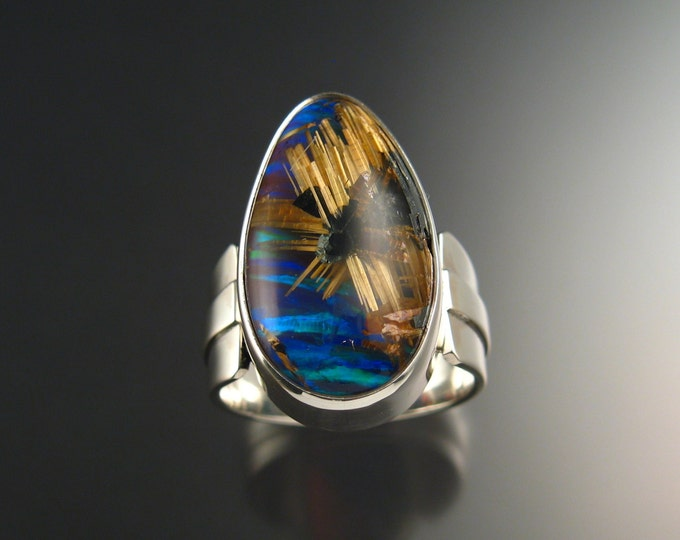 Rutilated Quartz and Blue Lab Opal ring Extra large size 13 Sterling Silver handmade statement ring