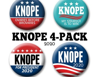 "4-Pack Leslie KNOPE 2020 Buttons for your Halloween Costume - 2.25"" Circle - Funny Parody for President -- Election political humor"
