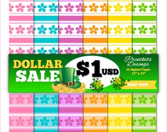 DOLLAR SALE! - Spring Flowers Digital Scrapbook Paper Pack, Printable Flowers Paper, Party decoration. PK_DP538