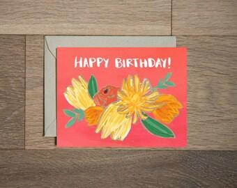 Anniversaire carte - anniversaire floral carte - carte de voeux Bohème - fleurs rouges et jaunes - orange fleurs