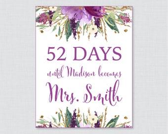 Days Until Mrs Floral Bridal Shower Sign Printable - Purple and Gold Flowers  Days Until Wedding Sign - Watercolor Garden Bridal 0008