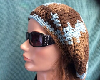 Brown & Teal Slouchy hat