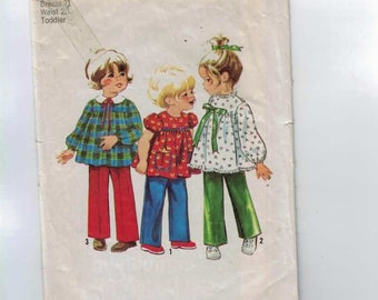 1970s Vintage Sewing Pattern Simplicity 9641 Girls High Waisted Top and Pants Size 2 Breast 21 70s 1971 UNCUT  99
