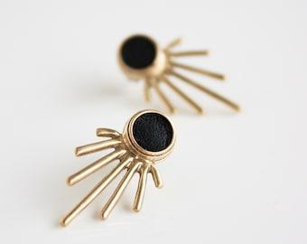 Gold burst post statement earring- brass post earring- leather earring- modern post earring