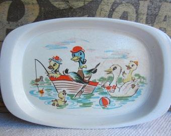 Vintage Noritake Melamine Duck Family Child Sandwich Plate