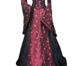 Gothic dress, Scottish widow hood, renaissance gown, Whitby goth, plus sizes available