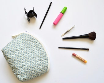 Quilted Zipper Pouch,Makeup Bag, Cosmetic Gift, Handmade,teal cosmetic bag, Striped,travel pouch ,beautiful zipper pouch.