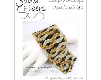 Peyote Pattern - Loop-de-Loop: Antiquities Peyote Cuff / Bracelet  - A Sand Fibers For Personal/Commercial Use PDF Pattern