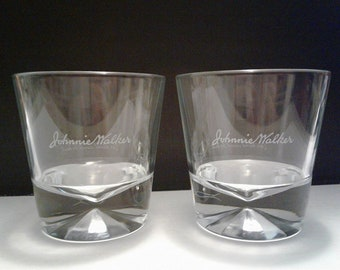 Set of 2 NEW Johnnie Walker Black Label Scotch Whisky Script Logo Diamond Pattern Heavy Base Round Lowball Rocks Glasses