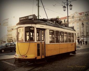 Yellow Trolley Car. Lisbon, Portugal Photo. Portuguese Wall Decor. Fine Art Travel Photography. Vintage Decor. Mustard. Home Decor. Wall Art
