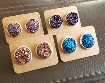 12mm Druzy Silver Stud Earring Set Pink Purple Blue Gift Bridesmaid Birthday