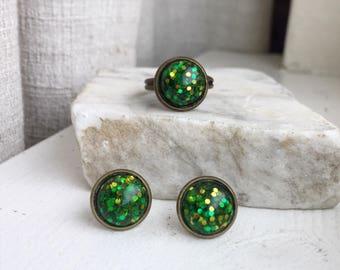 Green Glitter Earrings, Green Glitter Ring, St. Patricks Day Earrings, St. Patricks Day Ring, Green Earrings, Green Ring, Adjustable Ring