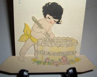 1920 Kewpie cake-cutter! Stand alone Buzza diecut place card!