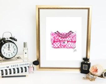 Chanel Inspired Watercolour Fashion Illustration, Pink Watercolour, Fashion Print, Fashion Wall Decor