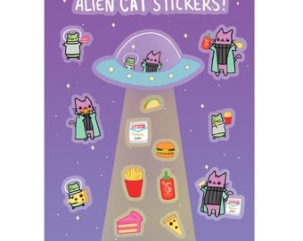 Cute Sticker Sheet Alien Cat Stickers Junk Food Alien Abduction Cats Snacks Outer Space Hamster Funny Gift