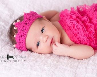 Crochet baby crown, Newborn photo prop, First birthday princess crown, new baby gift, baby shower gift, Newborn crochet crown, baby crown