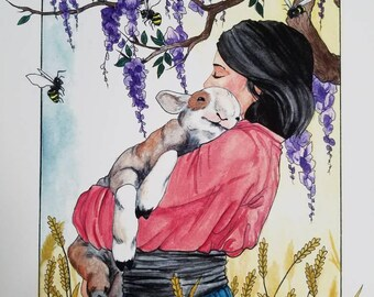 Springtime Lamb Watercolor Painting Print