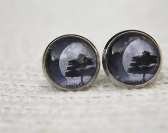 Tree Earrings, Moon Earrings, Moon Studs, Tree Studs, Gifts for Her, Everyday Jewellery, Simple Earrings, Glass Dome, Night Sky, Full Moon