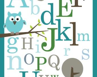 Nursery Art Prints- Owls (turquoise blue)