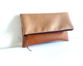Leather clutch, Vegan leather colorblock clutch, Foldover clutch purse, Zippered clutch bag, Honey brown clutch, Cognac brown clutch