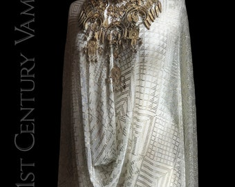 1920s Assuit Shawl. Art Deco. Egyptian Revival. Jazz Age. Flapper. Tulle Bi Telli. Tribal Fusion. Belly Dance. Egyptomania.