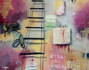 "Jewish Art EIGHT LEVELS of TZEDAKAH - 30""x40"" Contemporary Abstract Mixed Media"