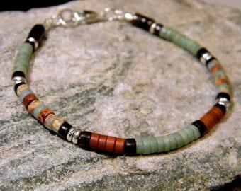 Natural Turquoise Bracelet, Native American, Southwestern, Tribal Bracelet, Boho, Bracelet for Men, Gemstone, Beaded, Heishi Bracelet