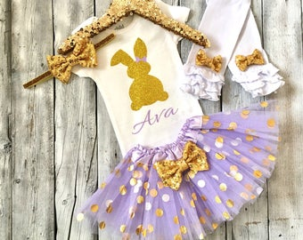 Purple and gold easter outfit, lavender gold easter outfit, baby girl easter outfit, toddler easter outfit, 1st easter outfit girls