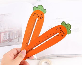 Kawaii Wooden Carrot Ruler - Easter Gift - Back to School - Cute School Supplies - Rabbit Stationery