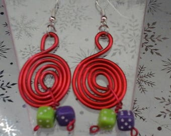 Earrings swirls of dice red 2 mm of purple and lime aluminum wire)