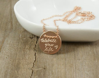 Personalized engraved necklace rosé-gold plated, delicate engraved necklace, persanalized necklace, gift for mom, gift for sister, wedding