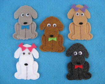 Puppy Finger Puppets. Set of 5 w/original rhyme. Handcrafted.