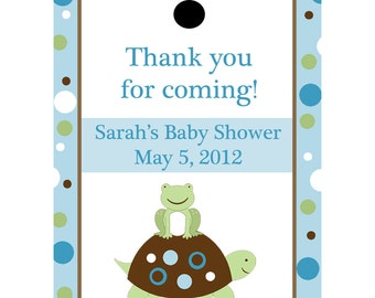 24 Personalized Baby Shower Favor Tags - Turtle and Frog - BLUES