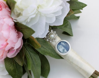 Forever- Rhinestone and Pearl Bridal Bouquet Photo Charm or Brooch