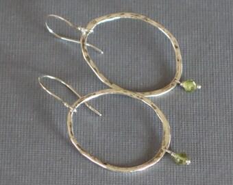 Peridot Earrings, Hammered Oval Earrings, Metalwork Earrings, Green Earrings, August Birthstone Earrings,