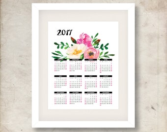 2017 Calendar, Watercolor flowers, Printable wall calendar, One page calendar, Instant download, Digital romantic calendar, 8x10 11x14, pdf