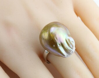 19.5mm Large baroque pearl ring,natural metallic color freshwater pearl ring,big size pearl ring,silver open ring,unique ring,unique gift