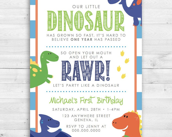 Kids birthday our little dinosaur birthday invitation boys toddler kids filmwisefo