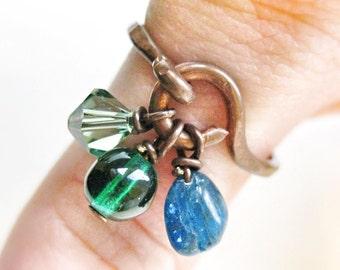 Copper Stacking Ring Dangle Charm Cluster Apatite Gemstone Emerald Glass, Erinte Swarovski Crystal Wire Work  Handmade Jewelry Canada