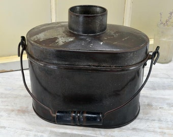 Antique Tin Lunch Pail - miner's dinner bucket - Old Lunch Box