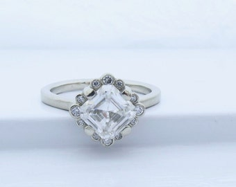 Vintage style Asscher cut moissanite engagement ring, lab grown diamond halo white gold engagement ring with Forever One asscher cut stone