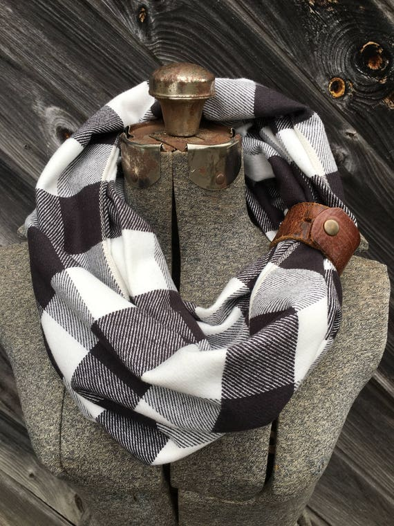 Black and white buffalo plaid check flannel eternity scarf with a brown leather cuff - soft, trendy
