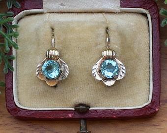Vintage Bohemian Glass Retro Silver Lever Earrings Czechoslovakia Blue Czech