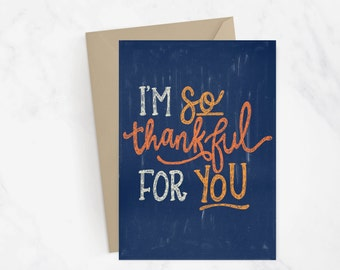 I'm So Thankful For You Greeting Card | Fall Card | Thanksgiving Card | Hand Lettered Card | Snail Mail | Fall Greetings | Autumn Card