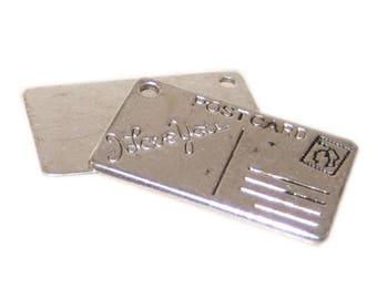 16 x 26mm Silver I LOVE YOU Postcard Charm - 4 charms