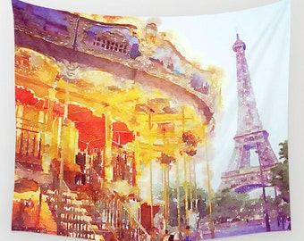 Paris Carousel by Eiffel Tower. Original Watercolor Painting Wall Hanging Tapestry. Add art for any room of your home quickly and affordably