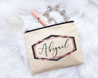 Bridesmaid Gift, Bridesmaid Gifts, Maid of Honor Gift, Personalized Gift, Makeup Bag, Cosmetic Bag, Canvas Bag, Monogram Bag, Geometric Bag